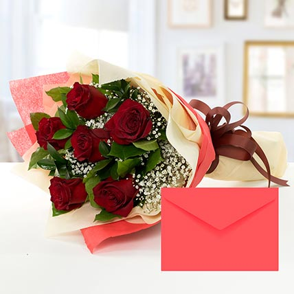 6 Red Roses Bouquet With Greeting Card BH: Flower Delivery Bahrain