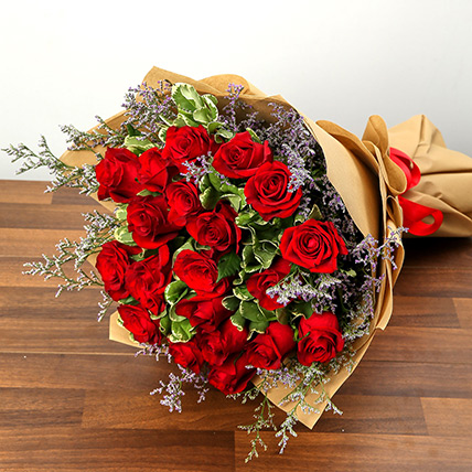 Stylish 20 Red Roses Bunch: Flowers to Manama