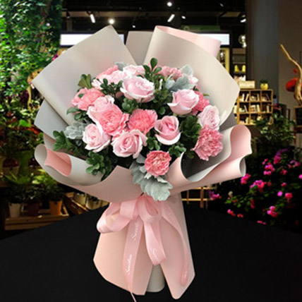 Pink Roses and Carnations Bouquet: Send Gifts To China
