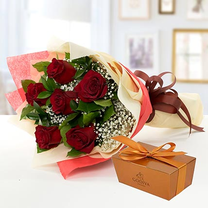 6 Red Roses and Godiva Chocolate Combo EG: Send Gifts to Egypt