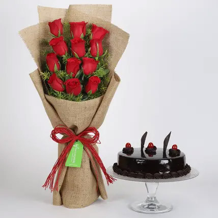12 Layered Red Roses Bouquet and Truffle Cake: Send Gifts To India