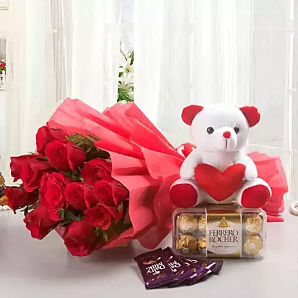 Rosy Combo: Send Flowers To India
