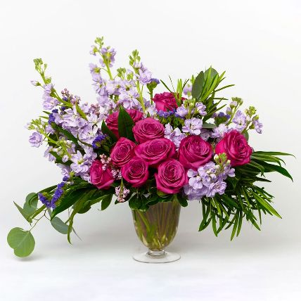 Premium Pink Rose & Delphinium Vase Arrangement: Gifts in Kuwait