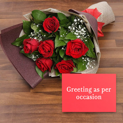 6 Red Roses Bouquet With Greeting Card: Anniversary Flowers & Greeting Cards
