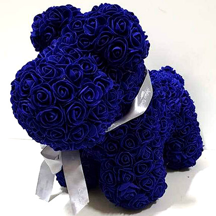 Artificial Blue Roses Dog: Rose Teddy Bears