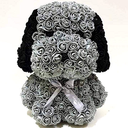 Artificial Grey Roses Dog: Rose Teddy Bears