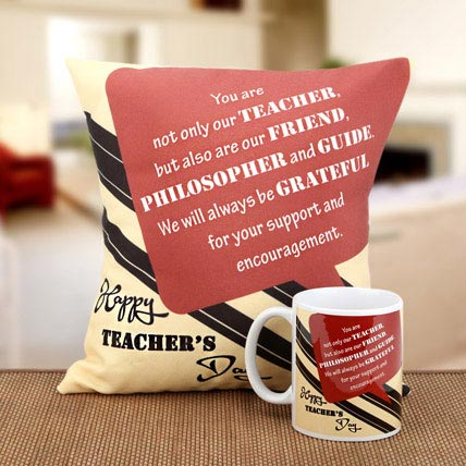 Beauty Of Thoughts Cushion and Mug Combo: Teachers Day Gifts