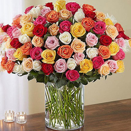 Bunch of 100 Mixed Roses In Glass Vase: Best Gifts
