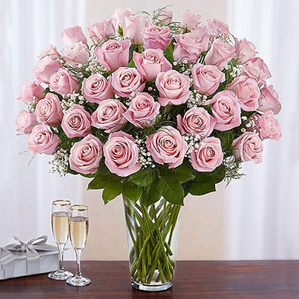 Bunch of 50 Gorgeous Pink Roses: New Arrival Gifts