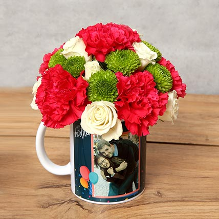 Carnations and Roses in Birthday Mug: Daisies