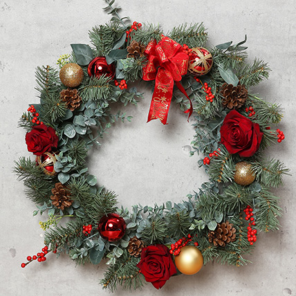Christmas Wreath with Roses: Christmas Decoration items
