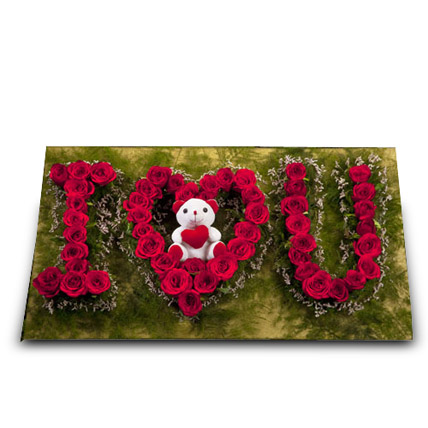 Cute Portrayal of Love: Anniversary Flowers & Teddy Bears