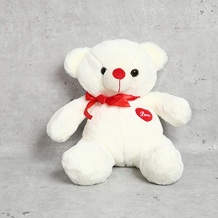 Cute White Teddy Bear: Soft Toys