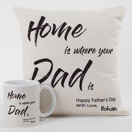 Dad Is Home Cushion And Mug Combo: Personalised Gifts for Father