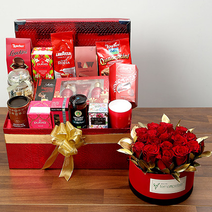 Delightful Food Hamper With Red Roses: Valentines Day Flowers for Boyfriend