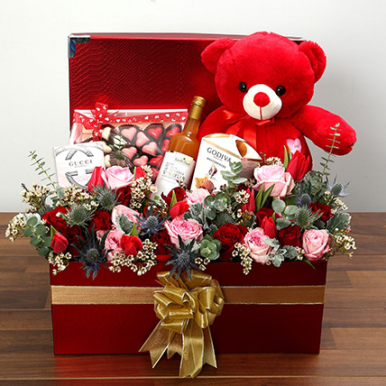 Delightful Hamper With Red Teddy Bear: Valentines Day Flowers for Him