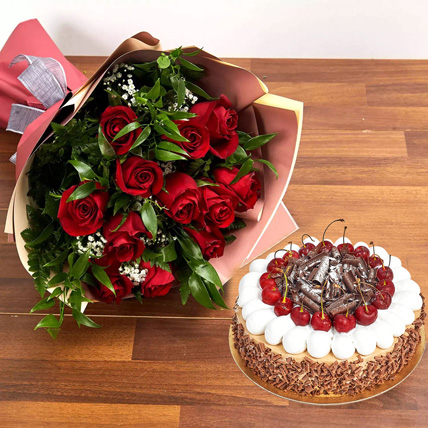 Dozen Roses with Blackforest Cake: Anniversary Flowers & Cakes