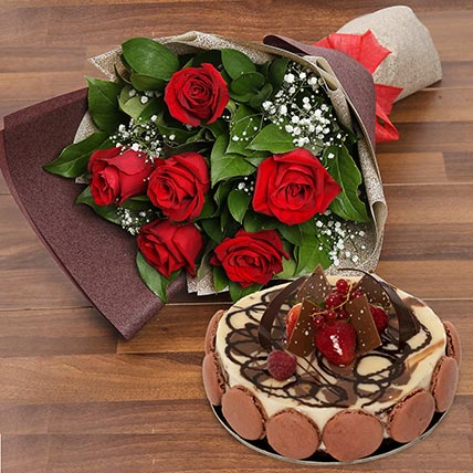 Enchanting Rose Bouquet With Marble Cake: Flowers & Cakes