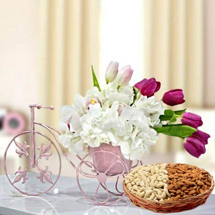 Floral Cycle Arrangement and Dry Fruits Combo: Anniversary Flowers & Dry Fruits