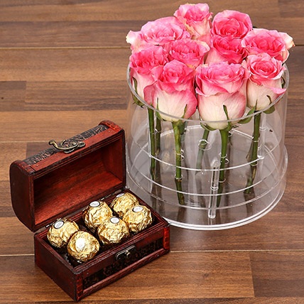 Graceful Pink Rose Box With Chocolates: Flowers with Chocolates