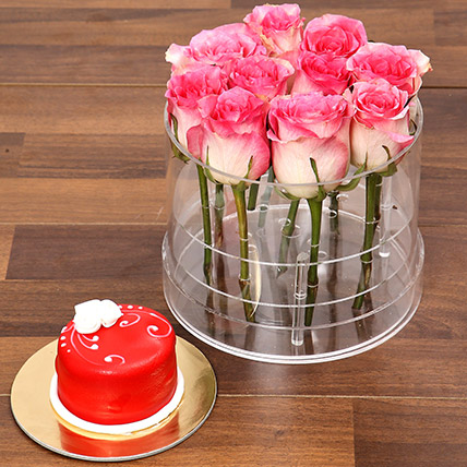 Graceful Pink Rose Box With Mono Cake: One Hour Delivery Gifts