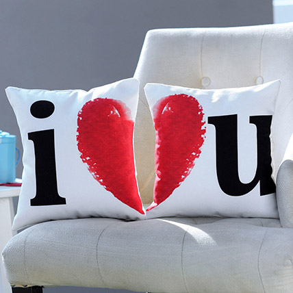 I Love You Printed Cushion Set: Valentines Day Personalised Gifts