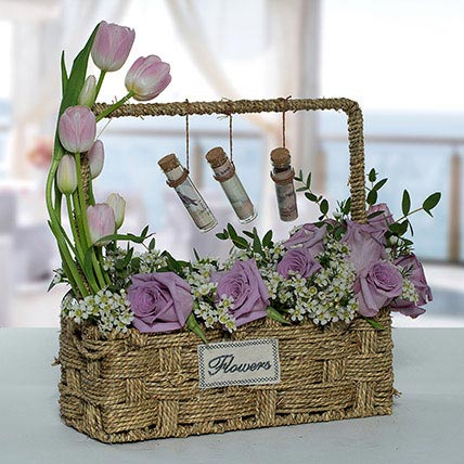 Lovely Rose N Tulip Flower Basket: Basket Arrangements