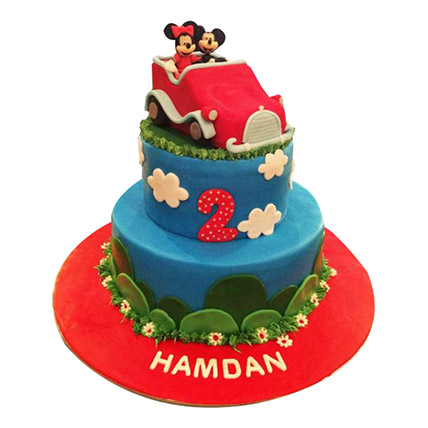 Minnie N Mickey in a car Cake: Cakes Delivery for Kids
