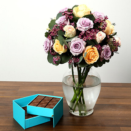 Mixed Rose Arrangement and Belgian Chocolate Combo: Mothers Day Flowers