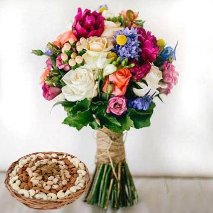 Mixed Roses Bouquet and Dry Fruits Combo: Anniversary Flowers & Dry Fruits