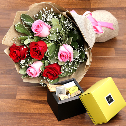 Mixed Roses Bouquet and Patchi Chocolate Combo: Chocolates