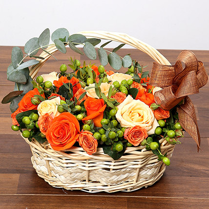 Peach and Orange Rose Basket: One Hour Delivery Gifts