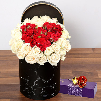 Peach and Red Rose Box With Golden Rose: Flower Box Dubai
