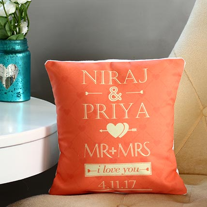 Personalised Mr and Mrs Cushion: Karwa Chauth Personalised Gifts