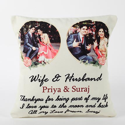 Personalised Wife and Husband Cushion: Karwa Chauth Personalised Gifts