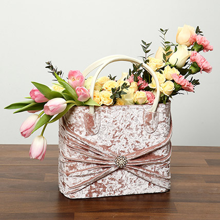 Pink and Peach Flowers in Designer Bag: Tulips Flowers
