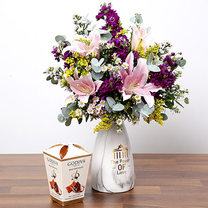 Pink and Purple Flowers In Vase With Truffles: Gifts Combos