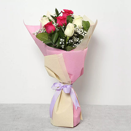 Pink and White Roses Bouquet: Birthday Flower Bouquets