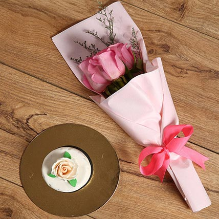 Pink Roses Bouquet and Mono Cake Combo: Birthday Gifts for Kids