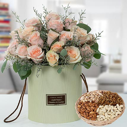 Pink Roses Box And Dry Fruits  Combo: Flowers & Dry Fruits