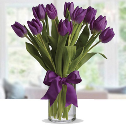 Purple Tulip Arrangement: Birthday Flowers for Wife