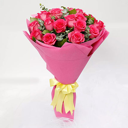 Ravishing 20 Dark Pink Roses Bouquet: Flower Delivery Al Ain