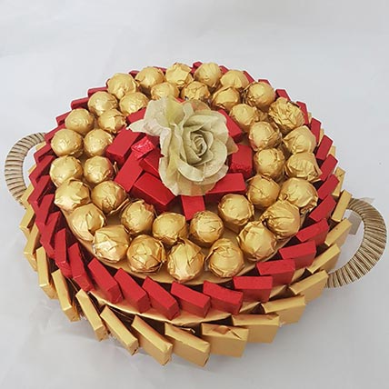 Red and Golden Chocolate Tray: Anniversary Chocolates
