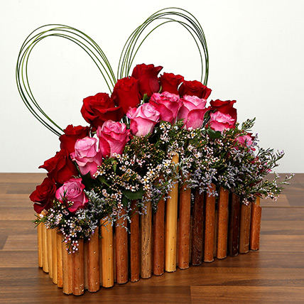 Red and Purple Roses In A Wooden Base: Valentines Day Flowers for Him