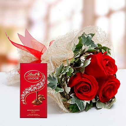 Red Roses Bouquet and Lindt Chocolate Combo: Anniversary Flowers & Chocolates