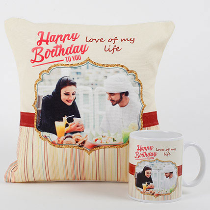 Romantic Personalized Mug N Cushion: Birthday Gifts in Abu Dhabi