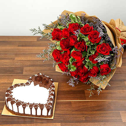 Rose Bouquet and Chocolate Cake Combo: Valentines Day Flowers