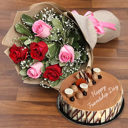Rose Bouquet  and Triple Choco Cake Combo: Friendship Day Gifts