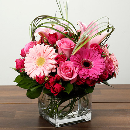 Roses and Gerbera Arrangement In Glass Vase: One Hour Delivery Gifts