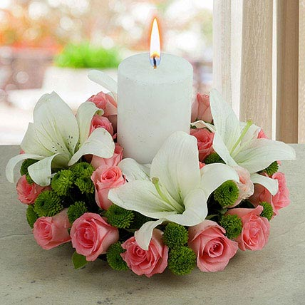 Roses N Lilies With Candle: Diwali Flowers